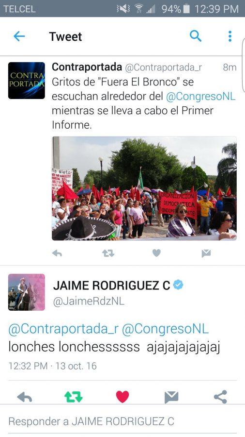 Así respondió cuenta de Jaime Rodríguez a manifestantes